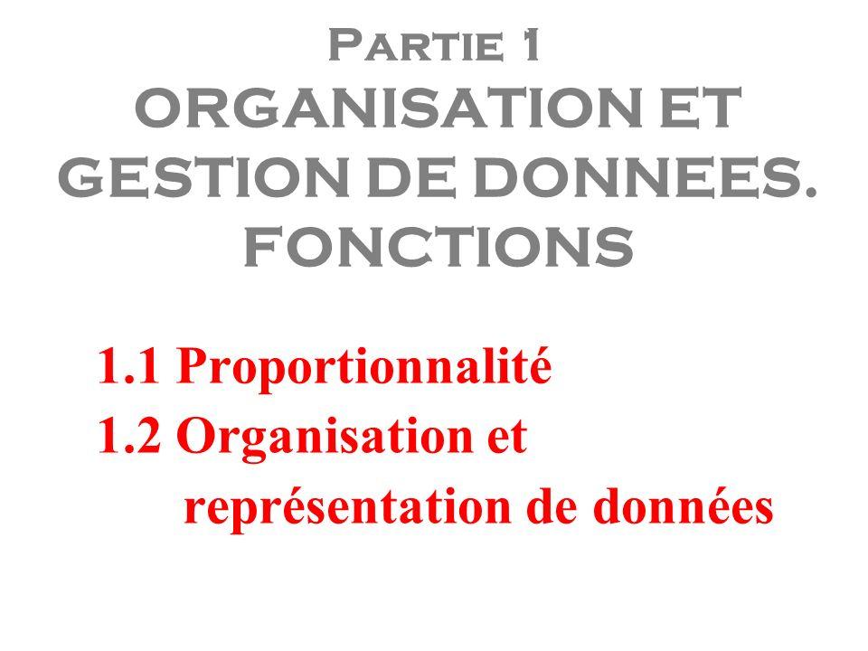 Partie 1 ORGANISATION ET GESTION DE DONNEES. FONCTIONS 1.1 Proportionnalité 1.2 Organisation et représentation de données