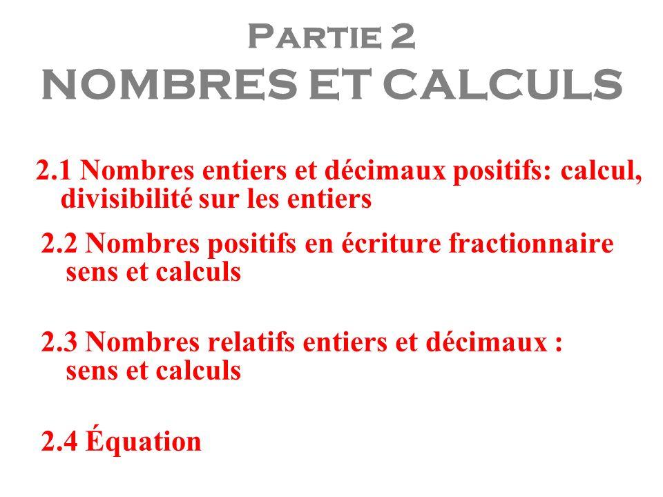 Partie 2 NOMBRES ET CALCULS 2.1 Nombres entiers et décimaux positifs: calcul, divisibilité sur les entiers 2.2 Nombres positifs en écriture fractionna