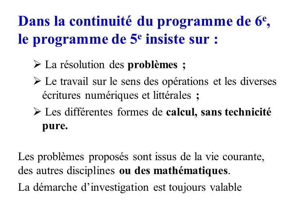 Dans la continuité du programme de 6 e, le programme de 5 e insiste sur : La résolution des problèmes ; Le travail sur le sens des opérations et les d