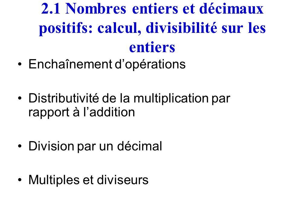 2.1 Nombres entiers et décimaux positifs: calcul, divisibilité sur les entiers Enchaînement dopérations Distributivité de la multiplication par rappor