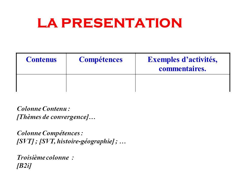 LA PRESENTATION Colonne Contenu : [Thèmes de convergence]… Colonne Compétences : [SVT] ; [SVT, histoire-géographie] ; … Troisième colonne : [B2i] Cont
