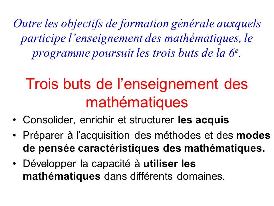 Outre les objectifs de formation générale auxquels participe lenseignement des mathématiques, le programme poursuit les trois buts de la 6 e. Consolid
