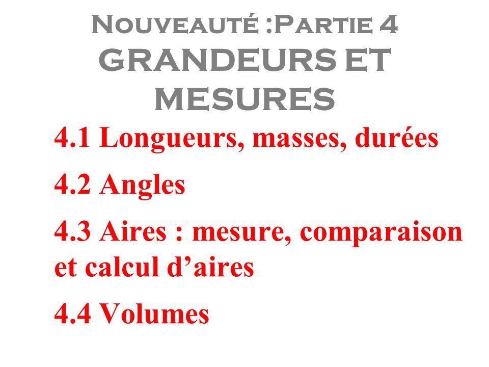 Nouveauté :Partie 4 GRANDEURS ET MESURES 4.1 Longueurs, masses, durées 4.2 Angles 4.3 Aires : mesure, comparaison et calcul daires 4.4 Volumes