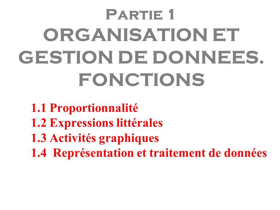 Partie 1 ORGANISATION ET GESTION DE DONNEES. FONCTIONS 1.1 Proportionnalité 1.2 Expressions littérales 1.3 Activités graphiques 1.4 Représentation et