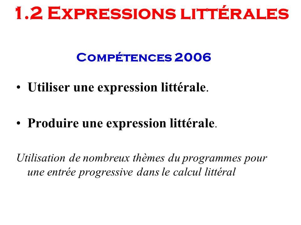 Compétences 2006 Utiliser une expression littérale. Produire une expression littérale. Utilisation de nombreux thèmes du programmes pour une entrée pr