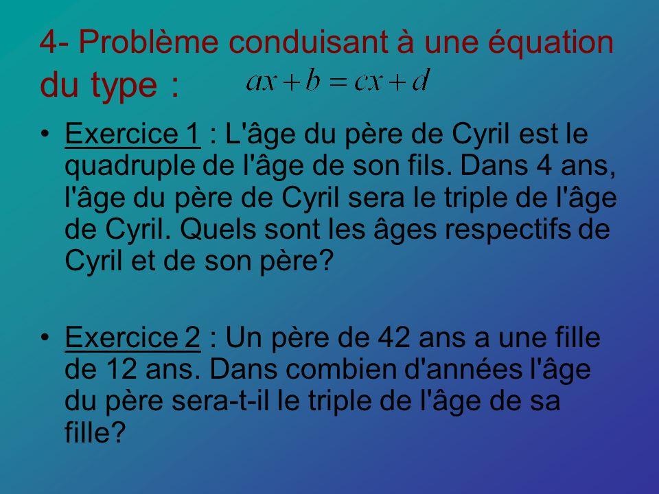 4- Problème conduisant à une équation du type : Exercice 1 : L'âge du père de Cyril est le quadruple de l'âge de son fils. Dans 4 ans, l'âge du père d