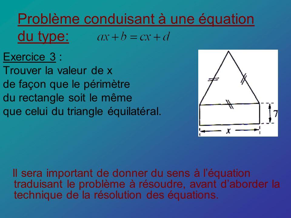 Problème conduisant à une équation du type: Exercice 3 : Trouver la valeur de x de façon que le périmètre du rectangle soit le même que celui du trian
