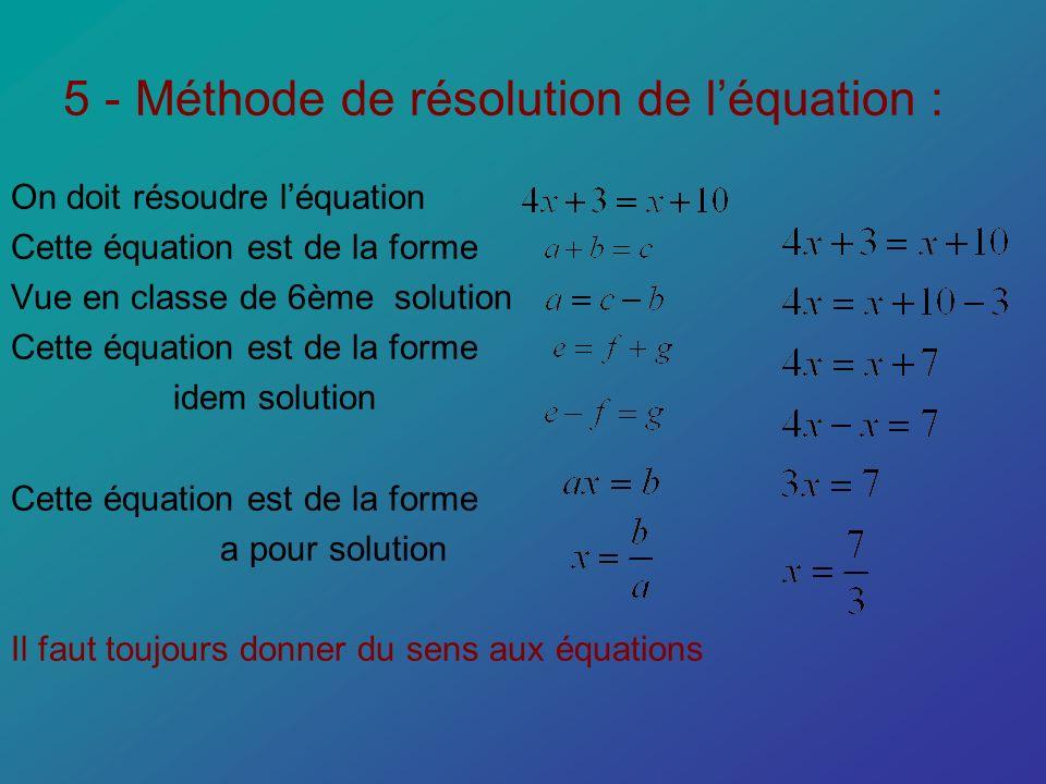 5 - Méthode de résolution de léquation : On doit résoudre léquation Cette équation est de la forme Vue en classe de 6ème solution Cette équation est d