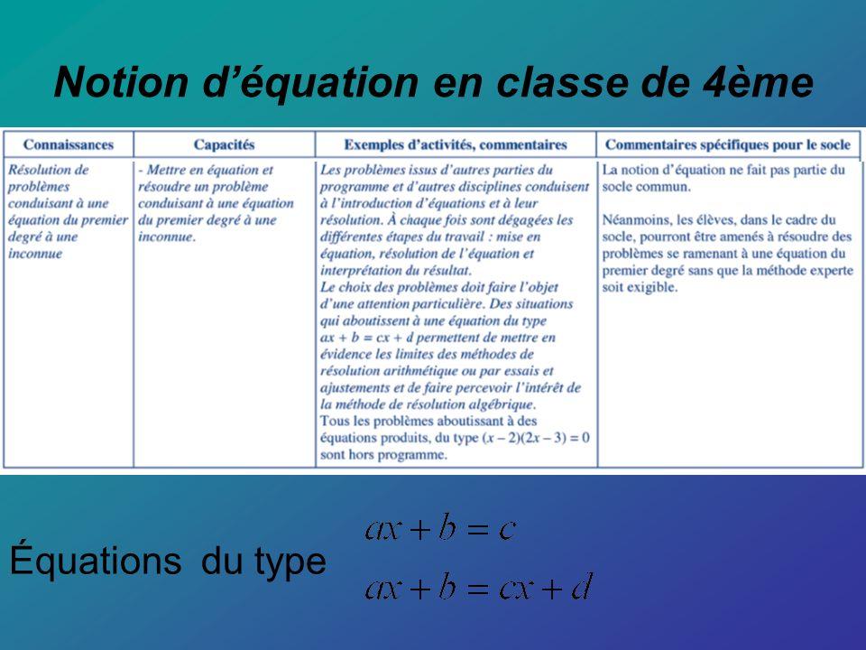 1- Phase préparatoire : Commencer dabord à faire des problèmes conduisant à la résolution déquations classiques de types : Équation : a+x = b Sens : x est la différence de b par a solution : x = b - a Équation : ax = b a 0 Sens : x est le quotient de b par a solution : x =