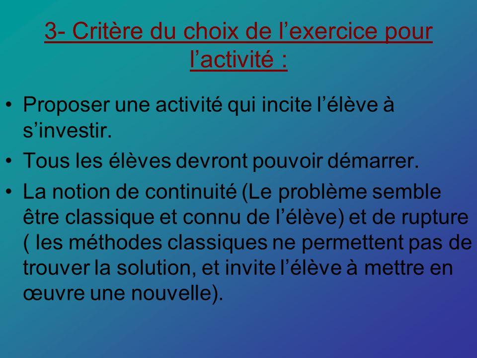 3- Critère du choix de lexercice pour lactivité : Proposer une activité qui incite lélève à sinvestir. Tous les élèves devront pouvoir démarrer. La no