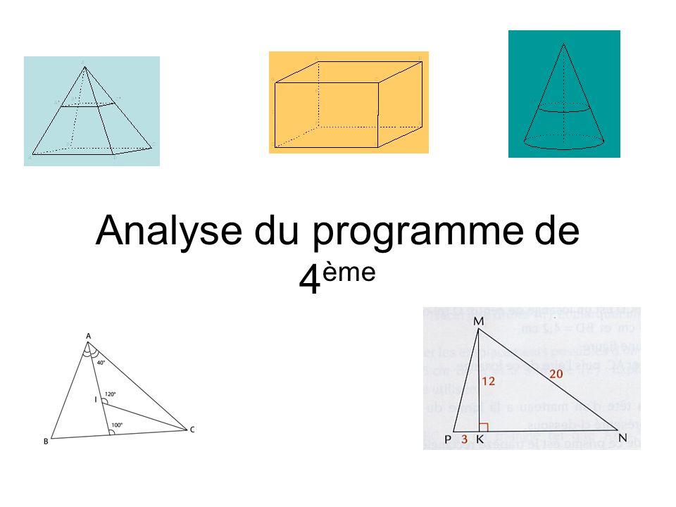 Analyse du programme de 4 ème