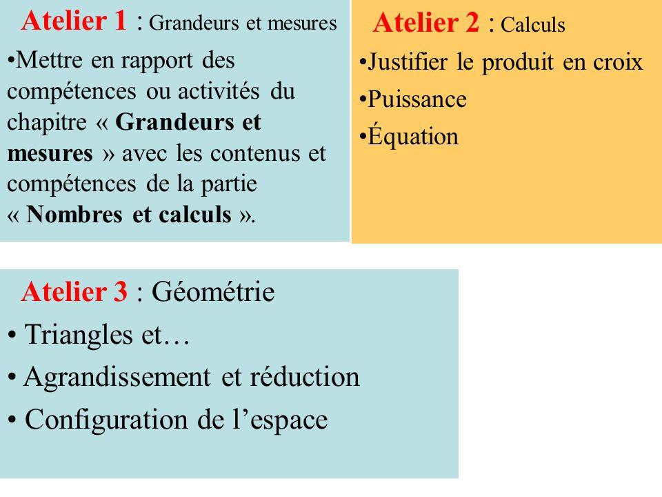 ATELIER 2 Calculs « Du numérique au littéral » Justifier le produit en croix (proportionnalité) Puissances Équation (choix des problèmes)