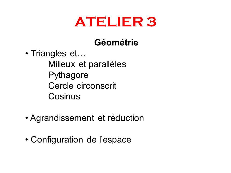 ATELIER 3 Géométrie Triangles et… Milieux et parallèles Pythagore Cercle circonscrit Cosinus Agrandissement et réduction Configuration de lespace