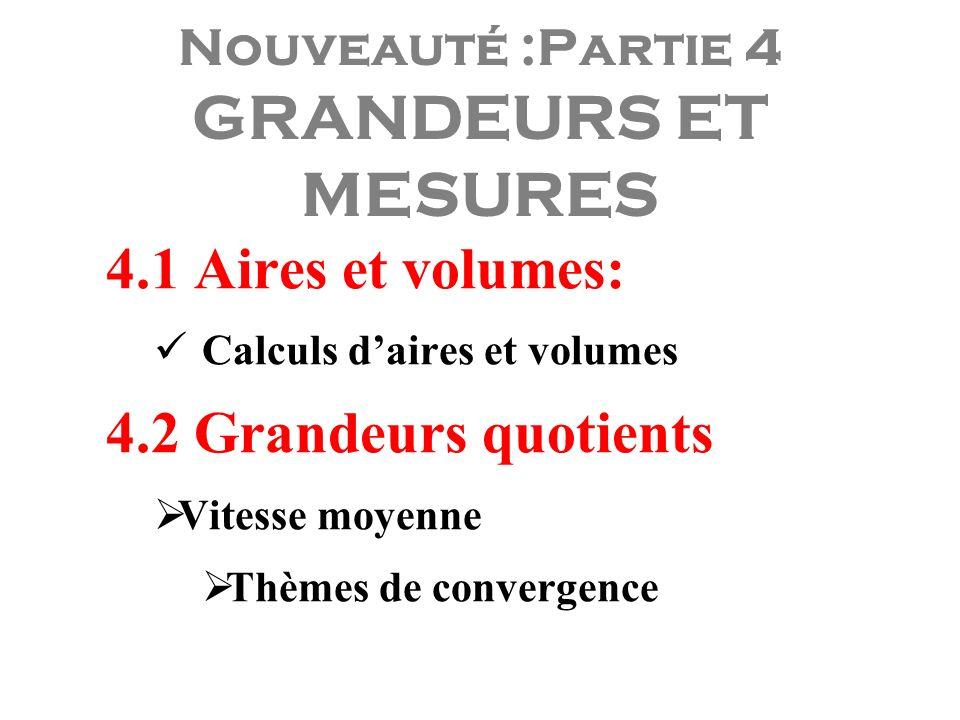 Nouveauté :Partie 4 GRANDEURS ET MESURES 4.1 Aires et volumes: Calculs daires et volumes 4.2 Grandeurs quotients Vitesse moyenne Thèmes de convergence