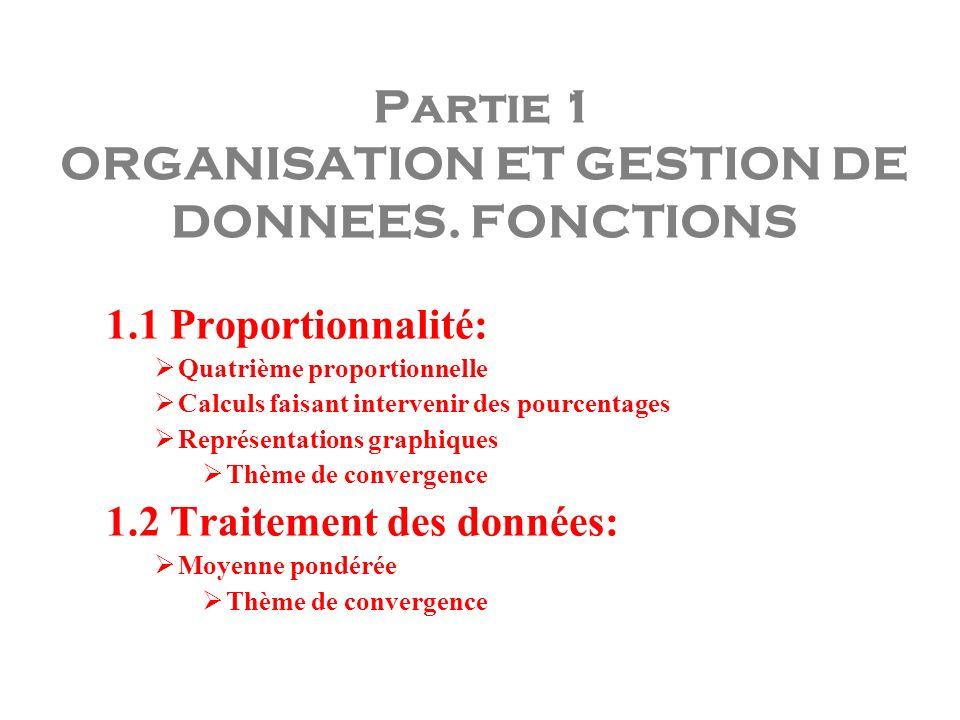 Partie 1 ORGANISATION ET GESTION DE DONNEES. FONCTIONS 1.1 Proportionnalité: Quatrième proportionnelle Calculs faisant intervenir des pourcentages Rep