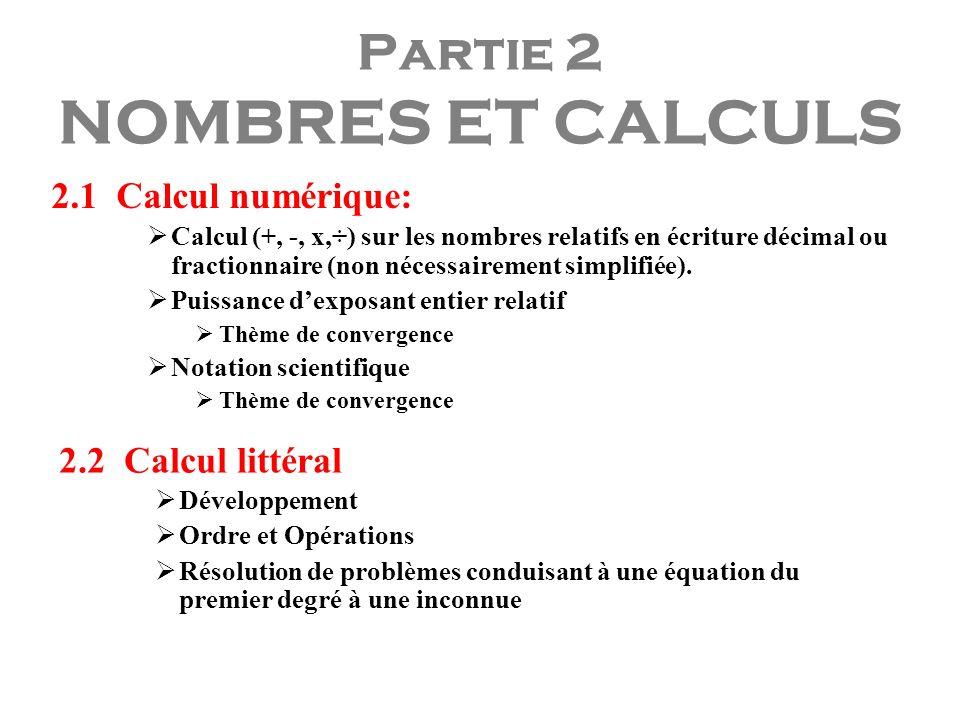 Partie 2 NOMBRES ET CALCULS 2.1 Calcul numérique: Calcul (+, -, x,÷) sur les nombres relatifs en écriture décimal ou fractionnaire (non nécessairement