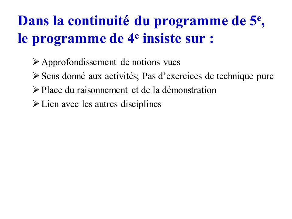 Dans la continuité du programme de 5 e, le programme de 4 e insiste sur : Approfondissement de notions vues Sens donné aux activités; Pas dexercices d