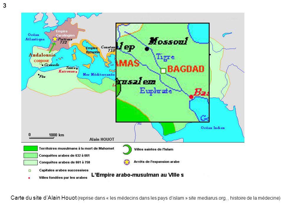 Carte du site dAlain Houot (reprise dans « les médecins dans les pays dislam » site mediarus.org,, histoire de la médecine) 3