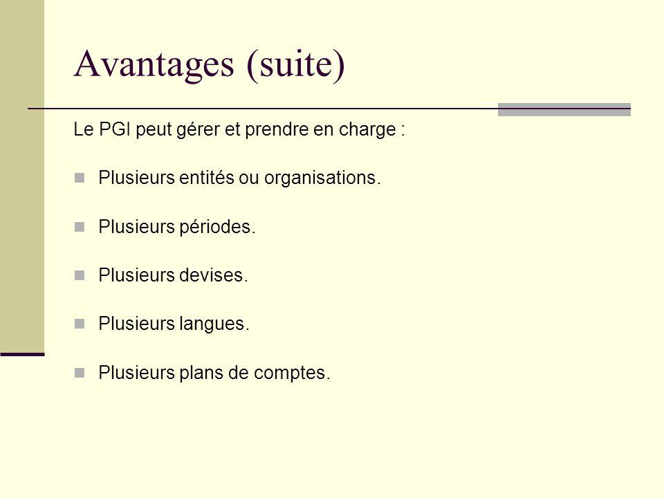Avantages (suite) Le PGI peut gérer et prendre en charge : Plusieurs entités ou organisations. Plusieurs périodes. Plusieurs devises. Plusieurs langue