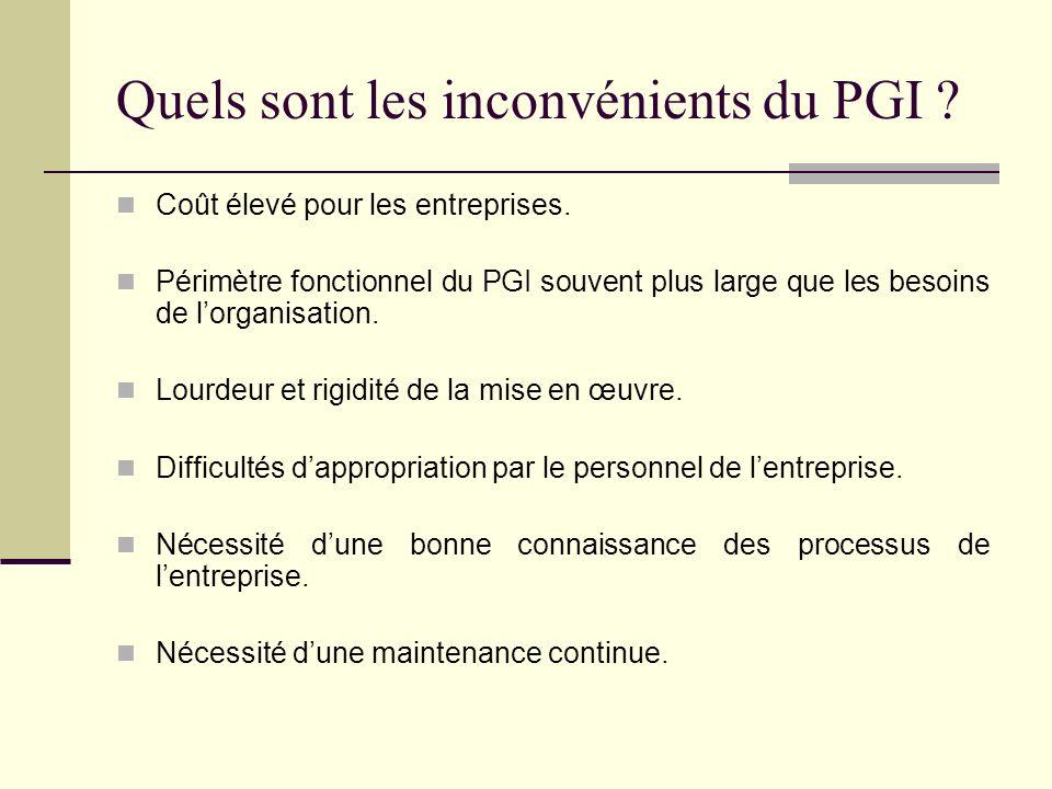 Quels sont les inconvénients du PGI ? Coût élevé pour les entreprises. Périmètre fonctionnel du PGI souvent plus large que les besoins de lorganisatio
