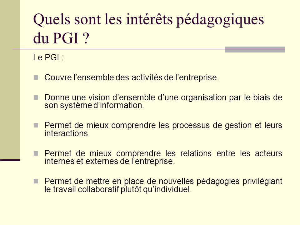 Quels sont les intérêts pédagogiques du PGI ? Le PGI : Couvre lensemble des activités de lentreprise. Donne une vision densemble dune organisation par