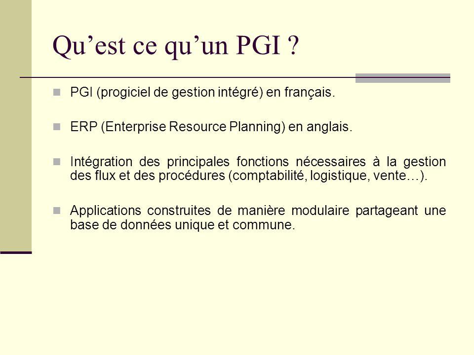 Quest ce quun PGI ? PGI (progiciel de gestion intégré) en français. ERP (Enterprise Resource Planning) en anglais. Intégration des principales fonctio
