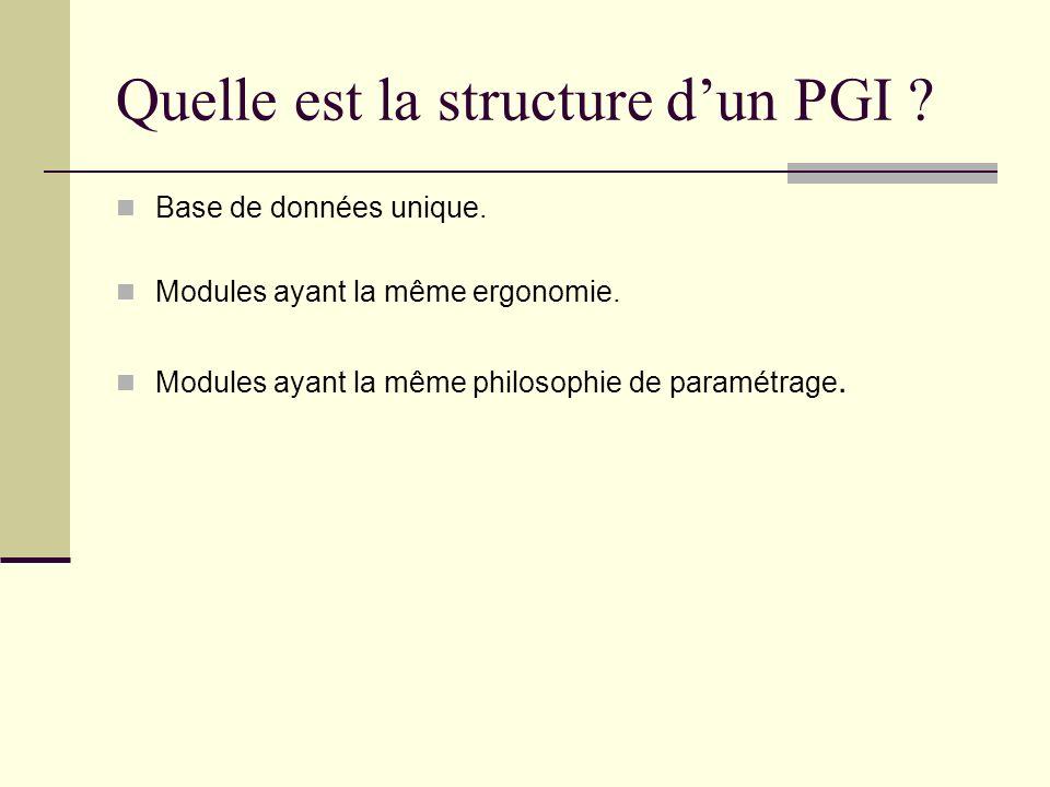 Quelle est la structure dun PGI ? Base de données unique. Modules ayant la même ergonomie. Modules ayant la même philosophie de paramétrage.