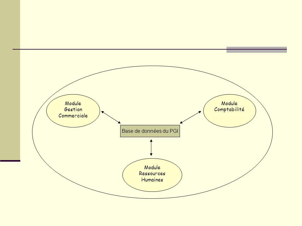 Module Gestion Commerciale Module Comptabilité Module Ressources Humaines Base de données du PGI