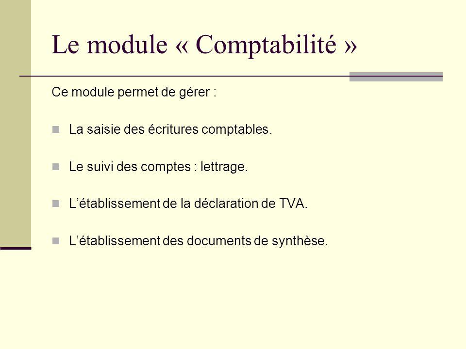 Le module « Comptabilité » Ce module permet de gérer : La saisie des écritures comptables. Le suivi des comptes : lettrage. Létablissement de la décla