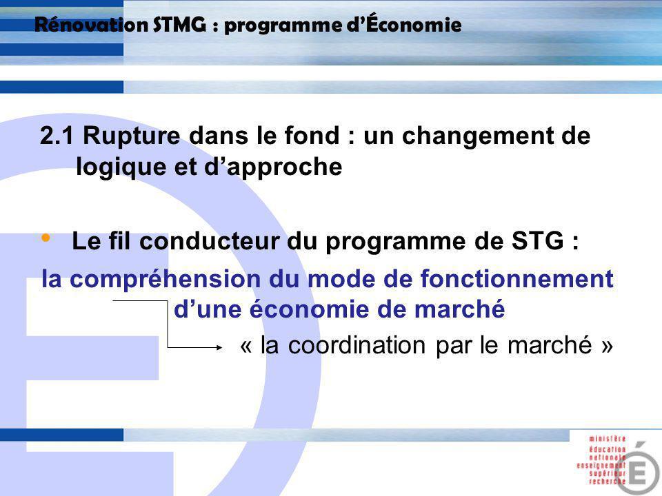 E 11 Rénovation STMG : programme dÉconomie 2.1 Rupture dans le fond : un changement de logique et dapproche La logique du programme de STMG : la compréhension des grands problèmes économiques contemporains et leurs enjeux.
