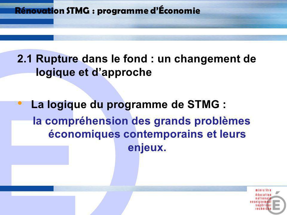 E 12 Rénovation STMG : programme dÉconomie 2.1 Rupture dans le fond : un changement de logique et dapproche Chaque thème est abordé sous forme de questions.