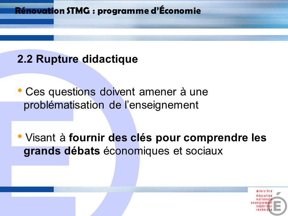 E 14 Rénovation STMG : programme dÉconomie 2.2 Rupture didactique La maîtrise de « largumentation » devient essentielle 2 temps : repérer les arguments dune démonstration dans un document, les mobiliser pour répondre à une question.