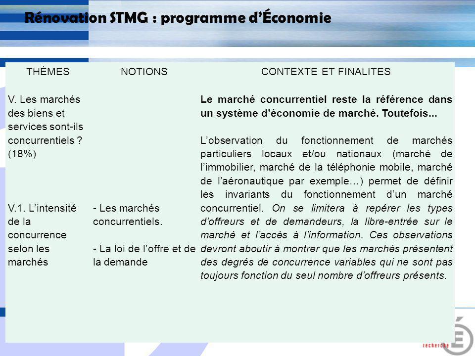 E 19 Rénovation STMG : programme dÉconomie 2.3 Rupture dans la forme, dans la présentation du programme Lordre des thèmes proposés sinscrit dans une logique quil est souhaitable de respecter.