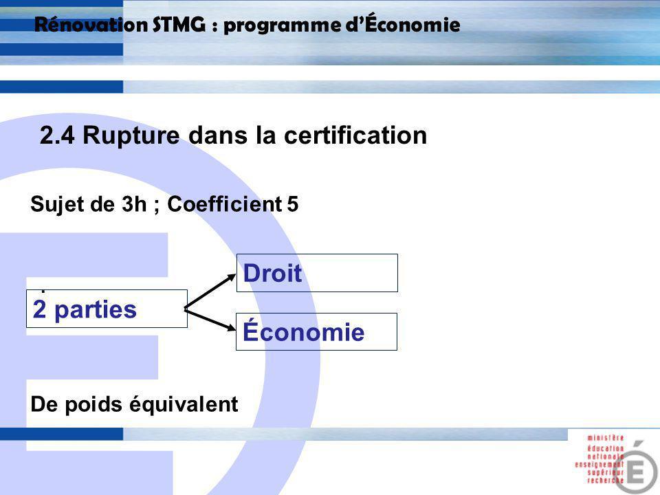 E 21 Rénovation STMG : programme dÉconomie 2.4 Rupture dans la certification Économie Partie analytique Mobilisation des arguments Partie méthodologique Repérage darguments