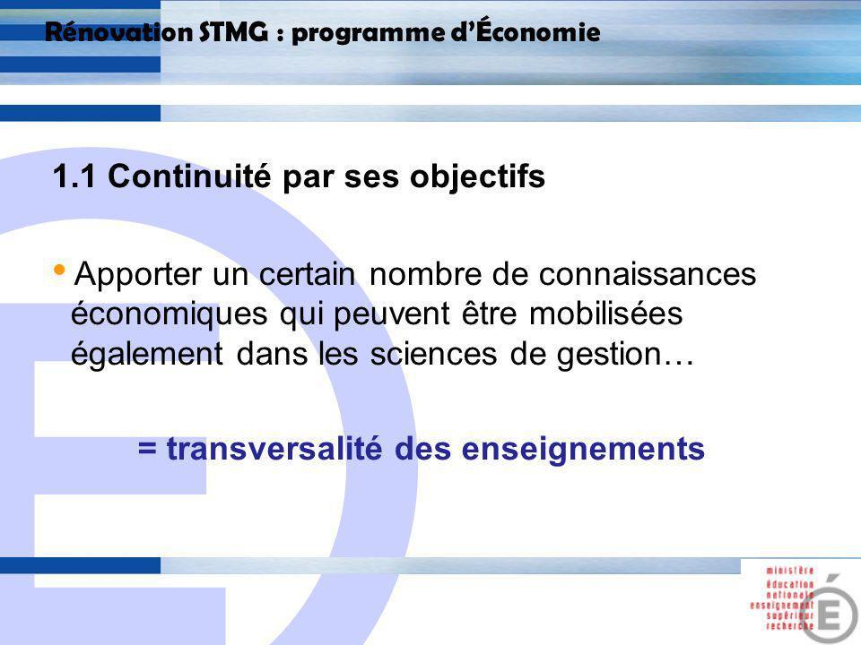 E 5 Rénovation STMG : programme dÉconomie 1.2 Continuité dans le fond, Les notions abordées restent quasiment identiques à celles abordées en STG, Tentative dallègement