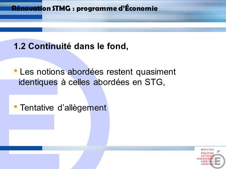 E 6 Rénovation STMG : programme dÉconomie 1.2 Continuité dans le fond, Les suppressions : - I.3 – Une économie de marché régulée : léconomie française (programme de 1 ère ) - I.2 La création monétaire : La masse monétaire ; la création monétaire ; le crédit.