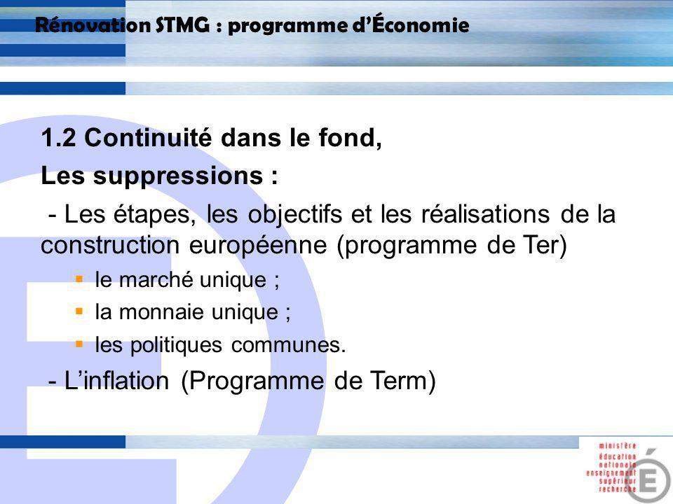 E 8 Rénovation STMG : programme dÉconomie 1.2 Continuité dans le fond, Les ajouts : Dans le thème 8 : « Quelle est lefficacité de lintervention sociale de lÉtat »; Un sous-thème : Léconomie sociale et solidaire