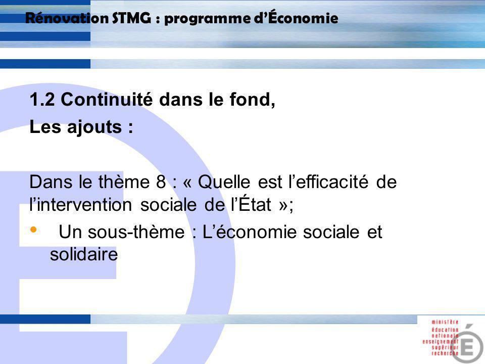 E 9 Rénovation STMG : programme dÉconomie 2.