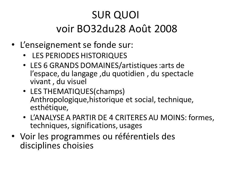 SUR QUOI voir BO32du28 Août 2008 Lenseignement se fonde sur: LES PERIODES HISTORIQUES LES 6 GRANDS DOMAINES/artistiques :arts de lespace, du langage,du quotidien, du spectacle vivant, du visuel LES THEMATIQUES(champs) Anthropologique,historique et social, technique, esthétique, LANALYSE A PARTIR DE 4 CRITERES AU MOINS: formes, techniques, significations, usages Voir les programmes ou référentiels des disciplines choisies