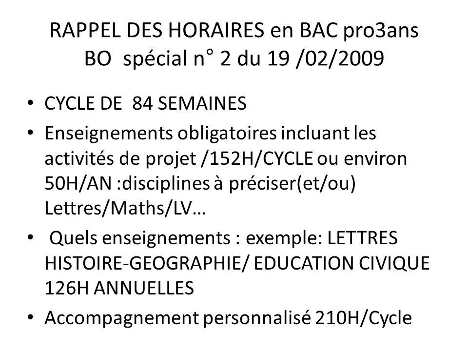 RAPPEL DES HORAIRES en BAC pro3ans BO spécial n° 2 du 19 /02/2009 CYCLE DE 84 SEMAINES Enseignements obligatoires incluant les activités de projet /152H/CYCLE ou environ 50H/AN :disciplines à préciser(et/ou) Lettres/Maths/LV… Quels enseignements : exemple: LETTRES HISTOIRE-GEOGRAPHIE/ EDUCATION CIVIQUE 126H ANNUELLES Accompagnement personnalisé 210H/Cycle