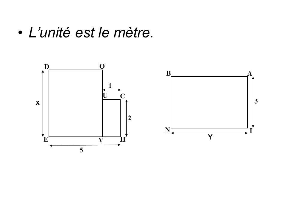 Lunité est le mètre. 1 2 5 x E V H U C D O N Y 3 I A B