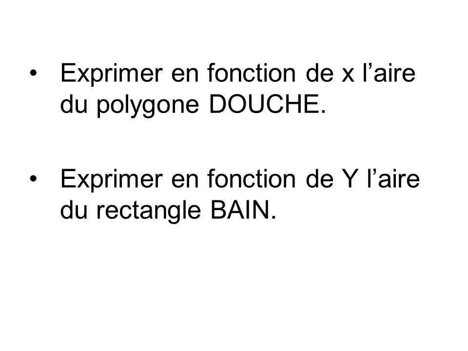 Exprimer en fonction de x laire du polygone DOUCHE. Exprimer en fonction de Y laire du rectangle BAIN.