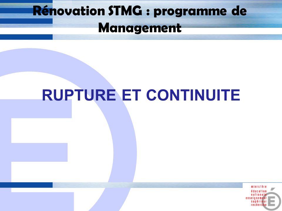 E 12 Rénovation STMG : programme de management 2.