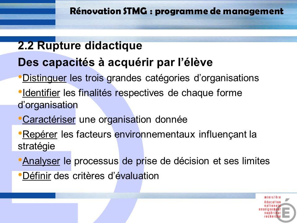 E 16 Rénovation STMG : programme de management 2.2 Rupture didactique Des capacités à acquérir par lélève Distinguer les trois grandes catégories dorg
