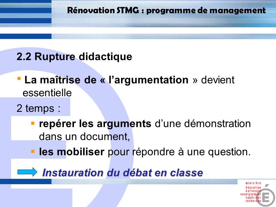 E 19 Rénovation STMG : programme de management 2.2 Rupture didactique La maîtrise de « largumentation » devient essentielle 2 temps : repérer les arguments dune démonstration dans un document, les mobiliser pour répondre à une question.