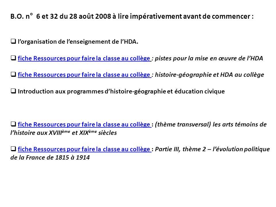 B.O. n° 6 et 32 du 28 août 2008 à lire impérativement avant de commencer : lorganisation de lenseignement de lHDA. fiche Ressources pour faire la clas