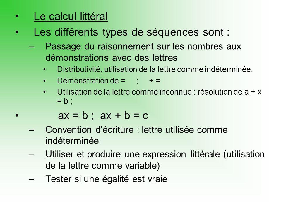 Le calcul littéral Les différents types de séquences sont : –Passage du raisonnement sur les nombres aux démonstrations avec des lettres Distributivité, utilisation de la lettre comme indéterminée.