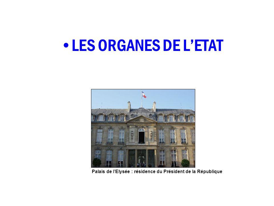 LES ORGANES DE LETAT Palais de lElysée : résidence du Président de la République