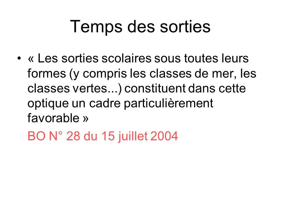 Temps des sorties « Les sorties scolaires sous toutes leurs formes (y compris les classes de mer, les classes vertes...) constituent dans cette optique un cadre particulièrement favorable » BO N° 28 du 15 juillet 2004
