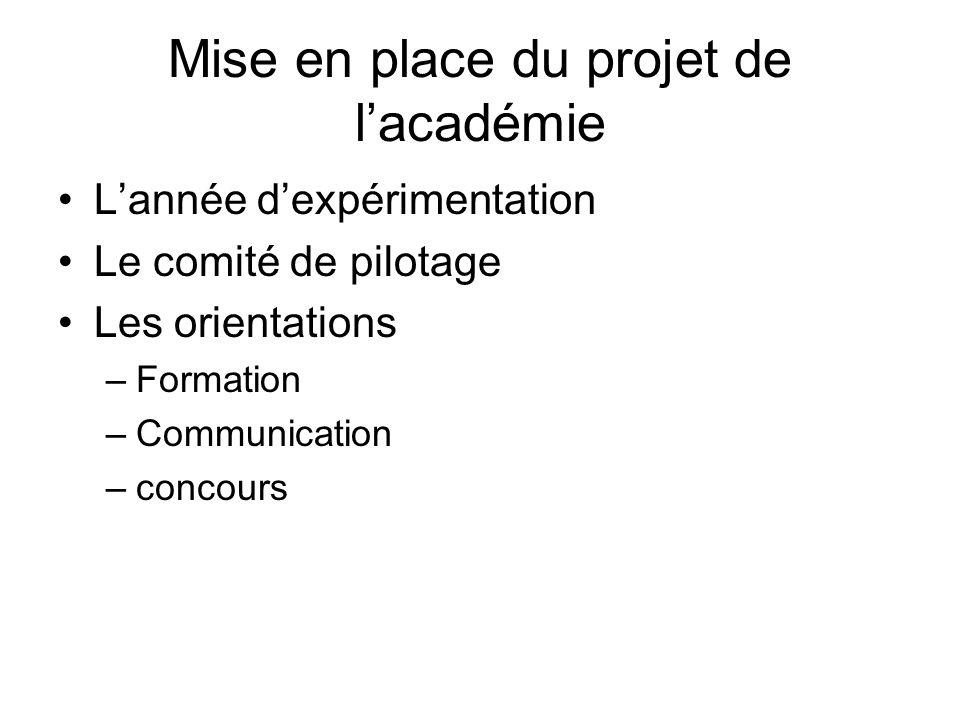 Mise en place du projet de lacadémie Lannée dexpérimentation Le comité de pilotage Les orientations –Formation –Communication –concours